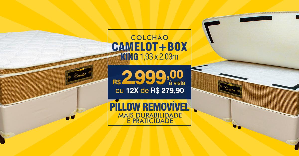 Colchão Camelot – King Size – Pillow Removível – Embalado à Vácuo – Indeformável – R$ 2.999,00 à vista ou 12X R$ 279,90