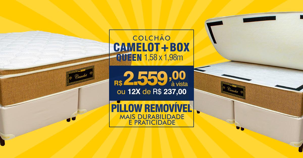 Colchão Camelot Queen Size – Pillow Removível – Embalado à Vácuo – Indeformável – R$ 2.559,00 à vista ou 12X R$ 237,00