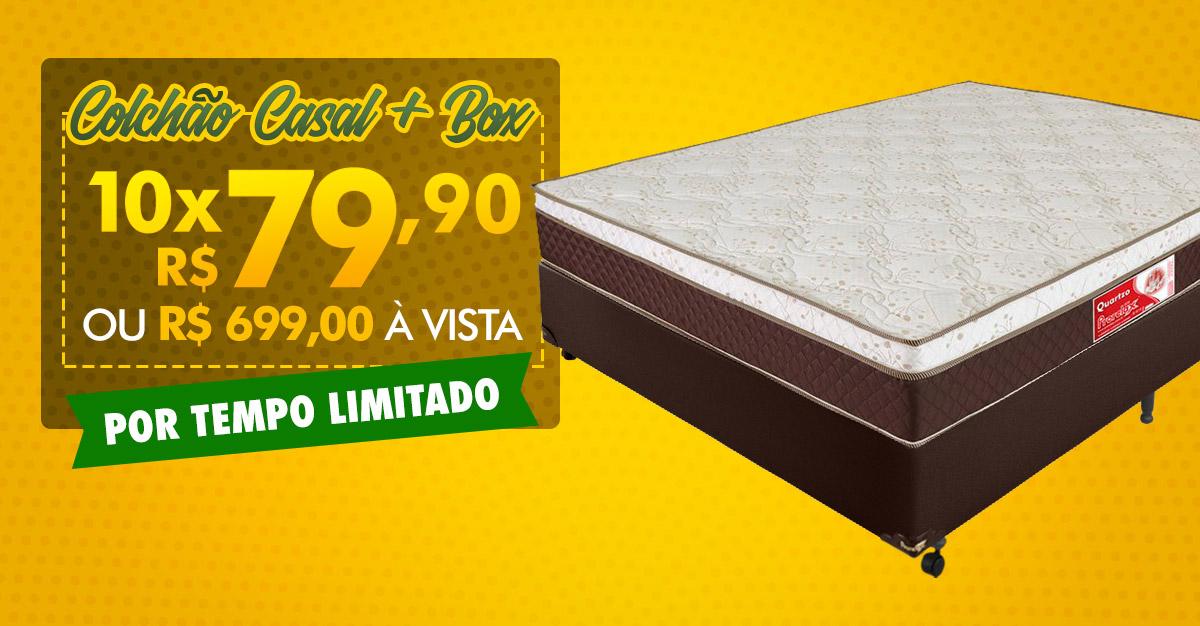 Colchão Quartzo Casal Padrão + Box por 10X de R$ 79,90